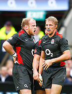 Lewis Moody (R) and Dan Cole (L) look on during the Investec series international between England and Australia at Twickenham, London, on Saturday 13th November 2010. (Photo by Andrew Tobin/SLIK images)