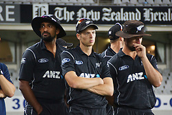 March 4, 2017 - Auckland, New Zealand - New Zealand Blackcaps players look dejected after losing the final match of  One Day International series between New Zealand and South Africa at Eden Park on March 4, 2017 in Auckland, New Zealand (Credit Image: © Shirley Kwok/Pacific Press via ZUMA Wire)