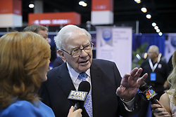 May 5, 2018 - Omaha, Nebraska, U.S. - WARREN BUFFETT, the chairman and CEO of Berkshire Hathaway, visits the exhibition on his invested companies before the 2018 Berkshire Hathaway Annual Shareholders Meeting attracting tens of thousands of its shareholders from all over the world to attend. (Credit Image: © Wang Ying/Xinhua via ZUMA Wire)