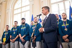 "Players during award ceremony ""Zlati red za zasluge"" for Basketball association of Slovenia on the day of statehood in the presidential palace, on June 25, 2018 in Ljubljana, Slovenia. Photo by Urban Urbanc / Sportida"