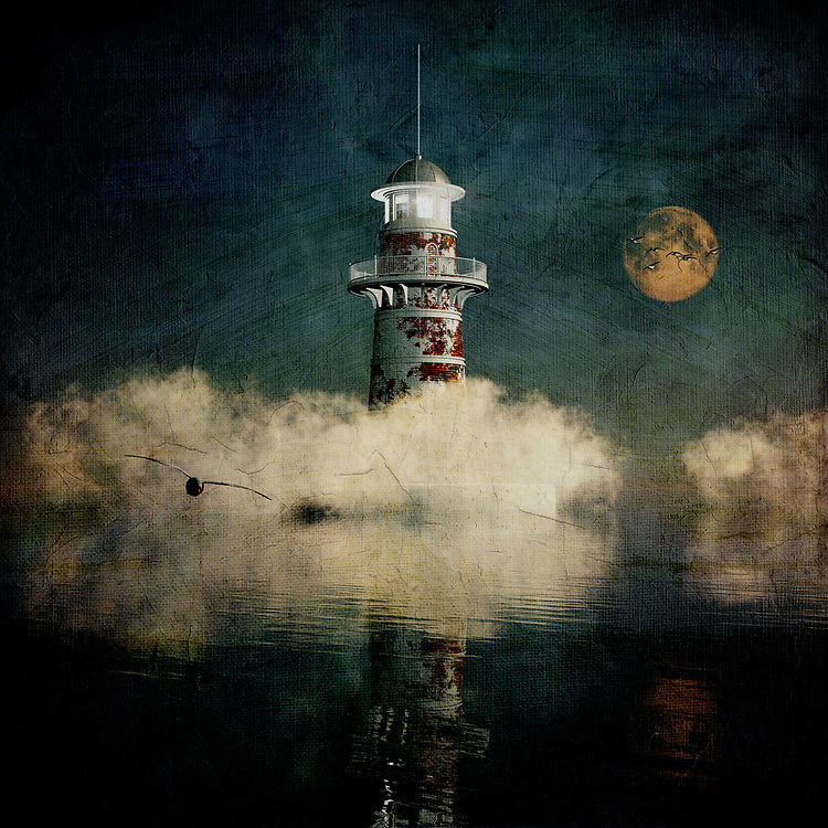 There is something provocative and alluring about this lighthouse. There is also something about it that one might describe as sinister. Why is that the case? Perhaps it's because we can't see everything around the lighthouse. We can't explore beyond what we are seeing. We can only begin to imagine the world in which this lighthouse exists. We can see that the lighthouse has experienced much in the way of history. We can see that it has seen better days. At the same time, it is a powerful monument to the consistency of humankind. It is a powerful image that takes us to some very interesting places. <br /> <br /> BUY THIS PRINT AT<br /> <br /> FINE ART AMERICA<br /> ENGLISH<br /> https://janke.pixels.com/featured/the-lighthouse-in-the-blue-mist-jan-keteleer.html<br /> <br /> WADM / OH MY PRINTS<br /> DUTCH / FRENCH / GERMAN<br /> https://www.werkaandemuur.nl/nl/shopwerk/Droom---De-vuurtoren-in-de-blauwe-mist/434835/134