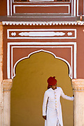 A turbaned guard at the City Palace, Jaipur, India<br /> The City Palace is a complex of palaces in central Jaipur built between 1729 and 1731 by Jai Singh II, the ruler of Amber