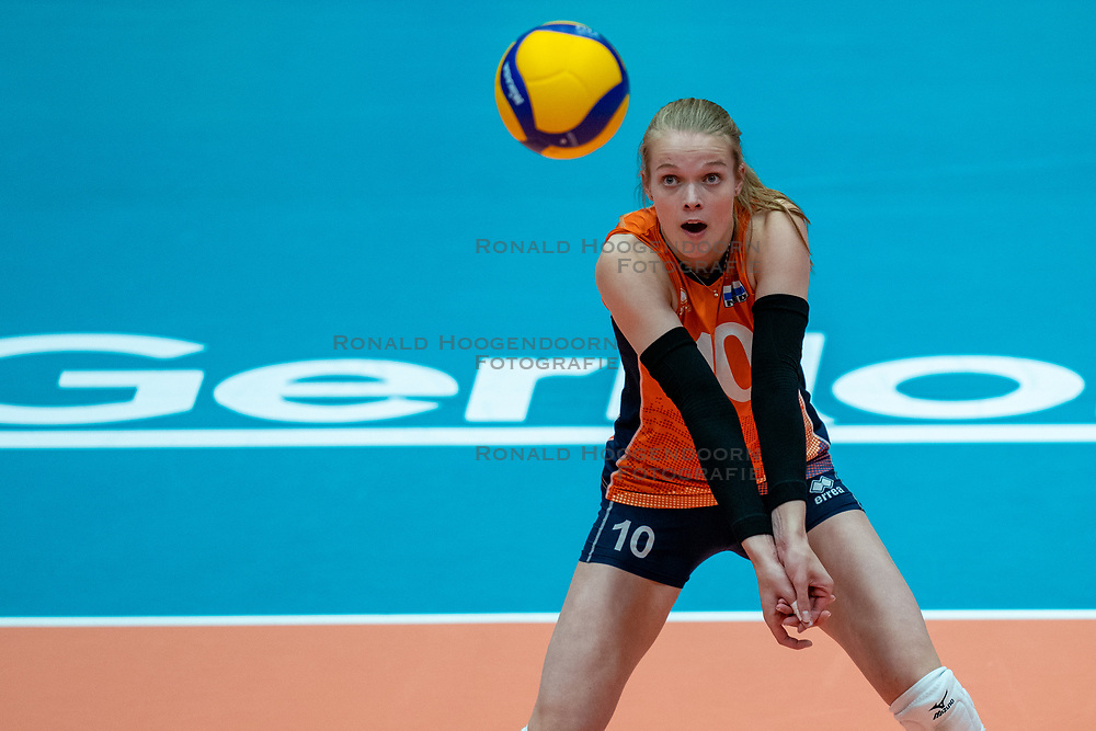 Iris Vos of Netherlands in action during sei final Netherlands - Serbia, FIVB U20 Women's World Championship on July 17, 2021 in Rotterdam