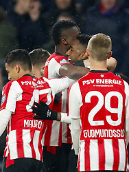 (L-R) Mauro Junior of PSV, Bart Ramselaar of PSV, Nicolas Isimat-Mirin of PSV, Joshua Brenet of PSV, Albert Gudmundsson of PSV during the Dutch Eredivisie match between PSV Eindhoven and PEC Zwolle at the Phillips stadium on February 03, 2018 in Eindhoven, The Netherlands