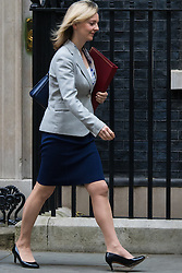 Downing Street, London, October 20th 2015.  Secretary of State for Environment, Food and Rural Affairs Elizabeth Truss leaves 10 Downing Street after attending the weekly cabinet meeting.