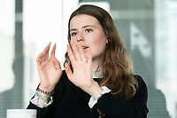 12 MAR 2020, BERLIN/GERMANY:<br /> Luisa Neubauer, Klimaschutzaktivistin, Fridays for Future, waehrend einem Interview, Redaktion Rheinische Post<br /> IMAGE: 20200312-01-052