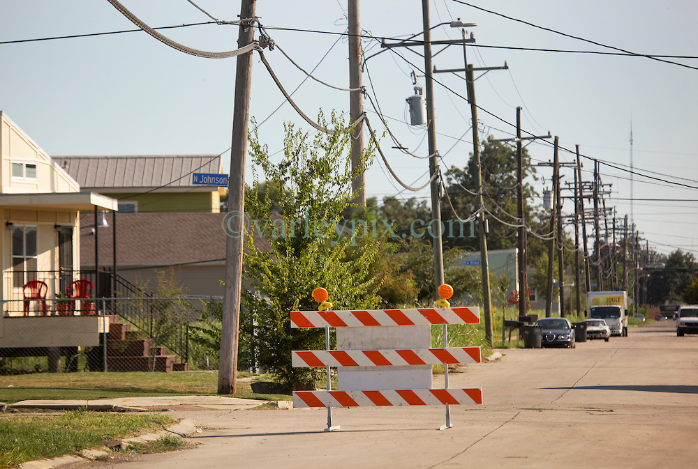 26 August 2015. New Orleans, Louisiana. <br /> Hurricane Katrina revisited. Lower 9th Ward. <br /> The junction of Reynes Street and North Johnson was piled with debris a decade earlier in the area hardest hit by Katrina. <br /> Photo credit©; Charlie Varley/varleypix.com.