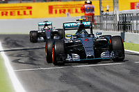 ROSBERG nico (ger), HAMILTON lewis (gbr) mercedes gp mgp w06 action during 2015 Formula 1 FIA world championship, Spain Grand Prix, at Barcelona Catalunya from May 8th to 10th. Photo Florent Gooden / DPPI