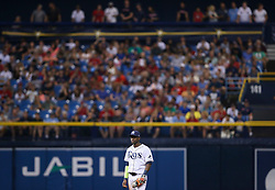 August 8, 2017 - St. Petersburg, Florida, U.S. - WILL VRAGOVIC       Times.Tampa Bay Rays shortstop Adeiny Hechavarria (11) on the field in the fourth inning of the game between the Boston Red Sox and the Tampa Bay Rays at Tropicana Field in St. Petersburg, Fla. on Tuesday, August 8, 2017. (Credit Image: © Will Vragovic/Tampa Bay Times via ZUMA Wire)
