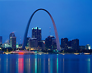 Jefferson National Expansion Memorial Gateway Arch and the city of St. Louis, Missouri across the Mississippi river from East St. Louis, Illinois.