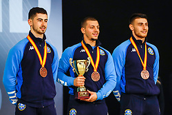 November 11, 2018 - Madrid, Madrid, Spain - Italy Team with bronce medal of male Kata Team during the Finals of Karate World Championship celebrates in Wizink Center, Madrid, Spain, on November 11th, 2018. (Credit Image: © AFP7 via ZUMA Wire)