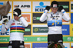 December 26, 2018 - Heusden-Zolder, BELGIUM - Belgian Wout Van Aert and Dutch Mathieu Van Der Poel pictured on the podium after the men Elite race of the seventh stage (out of nine) in the World Cup cyclocross, Wednesday 26 December 2018 in Heusden-Zolder, Belgium. BELGA PHOTO DAVID STOCKMAN (Credit Image: © David Stockman/Belga via ZUMA Press)