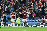 Sam Vokes of Burnley (c) celebrates  with the fans after scoring his teams 1st goal. Premier League match, Burnley v West Bromwich Albion at Turf Moor in Burnley , Lancs on Saturday 6th May 2017.<br /> pic by Chris Stading, Andrew Orchard sports photography.