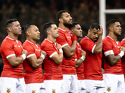 Tonga players sing their national anthem <br /> <br /> Photographer Simon King/Replay Images<br /> <br /> Under Armour Series - Wales v Tonga - Saturday 17th November 2018 - Principality Stadium - Cardiff<br /> <br /> World Copyright © Replay Images . All rights reserved. info@replayimages.co.uk - http://replayimages.co.uk