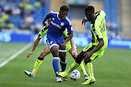 Kadeem Harris of Cardiff city looks to go past Tyler Blackett of Reading (r). EFL Skybet championship match, Cardiff city v Reading at the Cardiff city stadium in Cardiff, South Wales on Saturday 27th August 2016.<br /> pic by Andrew Orchard, Andrew Orchard sports photography.