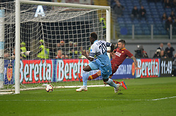 March 2, 2019 - Rome, Lazio, Italy - Felipe Caicedo of SS Lazio kicks goal 1-0 during the Italian Serie A football match between S.S. Lazio and A.S Roma at the Olympic Stadium in Rome, on march 02, 2019. (Credit Image: © Silvia Lore/NurPhoto via ZUMA Press)