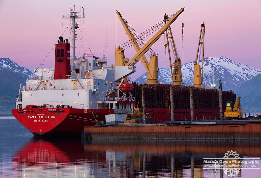Log ship loading up in Kodiak, Alaska