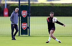 Arsenal manager Arsene Wenger observes training during the training session at London Colney.