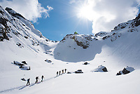A group of skiers in the Lyngen Alps, Norway.