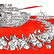 World War II 1939-1945: Russian cartoon showing a Soviet army tank overwhelming German army forces, c1942.