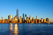 New York City, Lower Manhattan, Financial District skyline seen from Jersey City, from New Jersey.