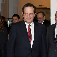 Dan Meridor (center) deputy prime minister of Israel meets Janos Martonyi (not pictured) minister of foreing affairs of Hungary during his official visit in Budapest, Hungary on February 17, 2011. ATTILA VOLGYI