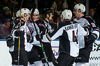 KELOWNA, BC - DECEMBER 18:  Tyler Preziuso #11, Tristen Nielsen #8, Trevor Longo #4, Alex Kannok Leipert #41 and Evan Patrician #39 of the Vancouver Giants celebrate a third period goal against the Kelowna Rockets at Prospera Place on December 18, 2019 in Kelowna, Canada. (Photo by Marissa Baecker/Shoot the Breeze)