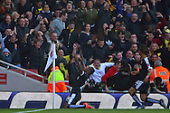 Watford striker, Odion Jude Ighalo (24) celebrating scoring with Watford defender, Nathan Ake (16) during the The FA Cup Quarter Final match between Arsenal and Watford at the Emirates Stadium, London, England on 13 March 2016. Photo by Matthew Redman.