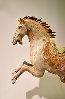 France, Paris (75), Musée Guimet, cheval bondissant, Chine du Nord, dynastie Tang, VIII siècle  // France, Paris, Guimet museum, horse, China, Tang dynasty, 8th century