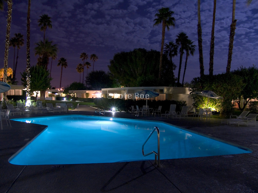swimming pool at night Palm Springs USA
