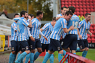 Coventry City defender Romain Vincelot celebrates with team mates during the Sky Bet League 1 match between Swindon Town and Coventry City at the County Ground, Swindon, England on 24 October 2015. Photo by Jemma Phillips.