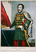 Lajos Kossuth (1802-1894), Hungarian hero. Lawyer, journalist and freedom fighter. Currier & Ives hand-coloured print New York c1849.
