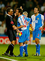 Fotball<br /> Premier League England 2004/2005<br /> Foto: BPI/Digitalsport<br /> NORWAY ONLY<br /> <br /> Crystal Palace v Blackburn Rovers<br /> 11/12/2004<br /> <br /> David Thompson argues with referee, Alan Wiley after being shown the red card.