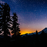 Stars over Mount Baker one summer evening in the Pacific Northwest of Washington State.