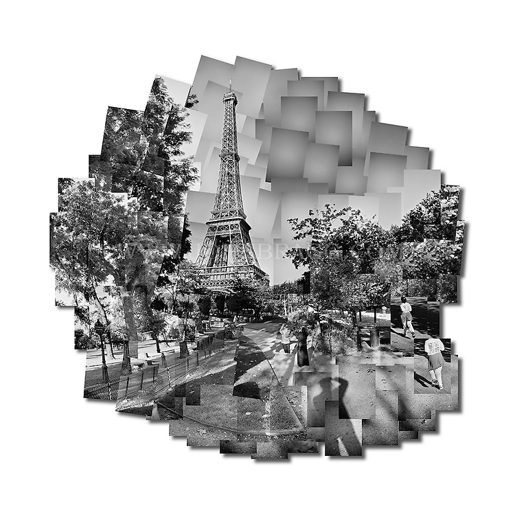 Black and white photo collage of the Eiffel Tower in Paris, France.