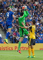 Football - 2016/2017 Premier League - Leicester Ciity V Arsenal. <br /> <br /> Petr Cech of Arsenal comes out to catch a high ball at The King Power Stadium.<br /> <br /> COLORSPORT/DANIEL BEARHAM