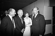 16/11/1966<br /> 11/16/1966<br /> 16 November 1966<br /> O'Brien Plastics Ltd., Bishopstown, Cork reception at the Intercontinental Hotel, Dublin to announce that Phillips Petroleum Company, Oklahoma U.S.A had acquired a 50% interest in O'Brien Plastics. Picture Shows (l-r):  Mr. William O'Brien; Mr. Edwin Van Den Bark, Vice President, Phillips Petroleum Co.; Mrs. O'Brien and Taoiseach Jack Lynch T.D. at the reception.