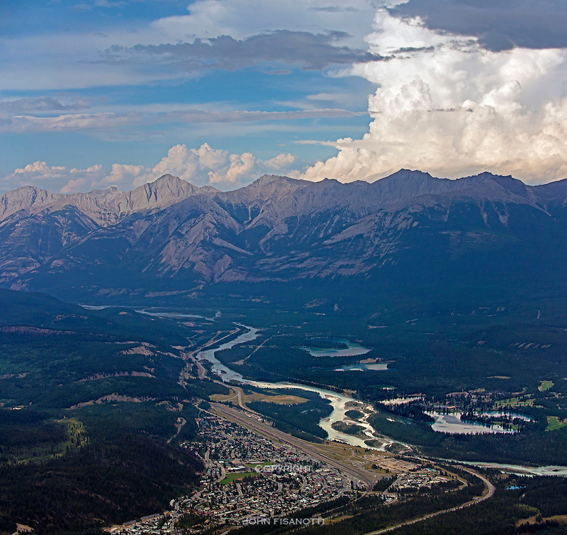 The town of Jasper, Alberta, Canada seen from the summit of The Whistlers Mountain Tram