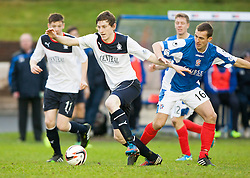 Falkirk's Blair Alston and Cowdenbeath's James Fowler.<br /> Cowdenbeath 0 v 2 Falkirk, Scottish Championship game today at Central Park, the home ground of Cowdenbeath Football Club.<br /> © Michael Schofield.