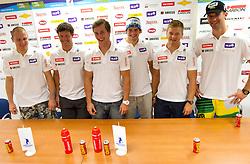 Andrej Sporn, Andrej Jerman, Rok Perko, Bostjan Kline, Andrej Krizaj and Gasper Markic during press conference of Slovenian Men Alpine Ski Team, on August 22, 2011, in SZS, Ljubljana, Slovenia. (Photo by Vid Ponikvar / Sportida)