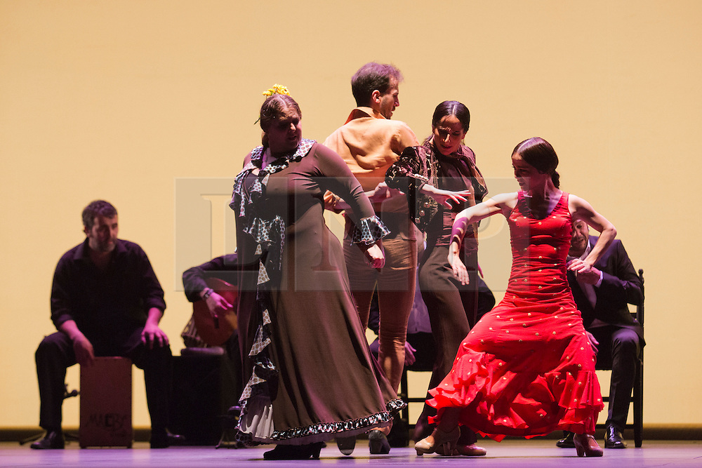 © Licensed to London News Pictures. 11 March 2014. London, England. L-R: Laura Rozalén, Marco Flores, Mercedes Ruiz and Olga Pericet. Flamenco Festival London 2014 - Gala Flamenca, The Five Seasons. A regular feature at Sadler's Wells annual Flamenco Festival, this year's Gala Flamenca programme features some of the most exciting figures on the flamenco scene - Marco Flores, Olga Pericet, Laura Rozalén and Mercedes Ruiz - bringing together an array of talents and disciplines in one spectacular show. Photo credit: Bettina Strenske/LNP
