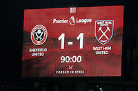 The scoreboard temporarily shows the score as 1-1 <br /> <br /> Photographer Rich Linley/CameraSport<br /> <br /> The Premier League - Sheffield United v West Ham United - Friday 10th January 2020 - Bramall Lane - Sheffield <br /> <br /> World Copyright © 2020 CameraSport. All rights reserved. 43 Linden Ave. Countesthorpe. Leicester. England. LE8 5PG - Tel: +44 (0) 116 277 4147 - admin@camerasport.com - www.camerasport.com