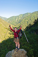Backpackers on Pine Ridge Trail, Big Sur, California.