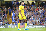 Bristol Rovers forward Ellis Harrison (9) with eyes shut during the EFL Cup match between Chelsea and Bristol Rovers at Stamford Bridge, London, England on 23 August 2016. Photo by Matthew Redman.