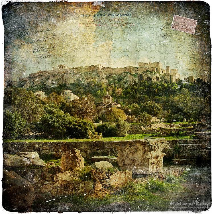 Acropolis, Athens, Greece - Forgotten Postcard digital art European Travel collage