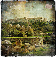 Acropolis, Athens, Greece - Forgotten Postcard digital art European Travel collage