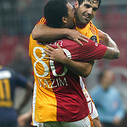 Galatasaray's Juan Emmanuel CULIO (R) celebrate his goal with team mate during their Turkish Super League soccer match Galatasaray between Bucaspor at the Turk Telekom Arena at Seyrantepe in Istanbul Turkey on Saturday 19 February 2011. Photo by TURKPIX