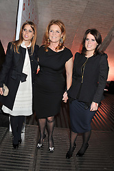 Left to right, PRINCESS BEATRICE OF YORK, SARAH, DUCHESS OF YORK, VALENTINO and PRINCESS EUGENIE OF YORK at a private view of 'Valentino: Master Of Couture' at Somerset House, London on 28th November 2012.