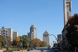 20 October 2010: At 20 blocks apart and downtown St. Louis between, the Gateway Arch stands at the east end of Market Street and Union Station on the west.  St. Louis Missouri