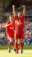 Photo. Jed Wee.<br /> Blackburn Rovers v Liverpool, FA Barclaycard Premiership, Ewood Park, Blackburn. 13/09/2003.<br /> Liverpool's Harry Kewell salutes the crowd as Vladimir Smicer rushes in to help him celebrate his goal.